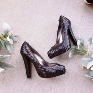Dolce Vita Black Sequin Party Metallic High Heels